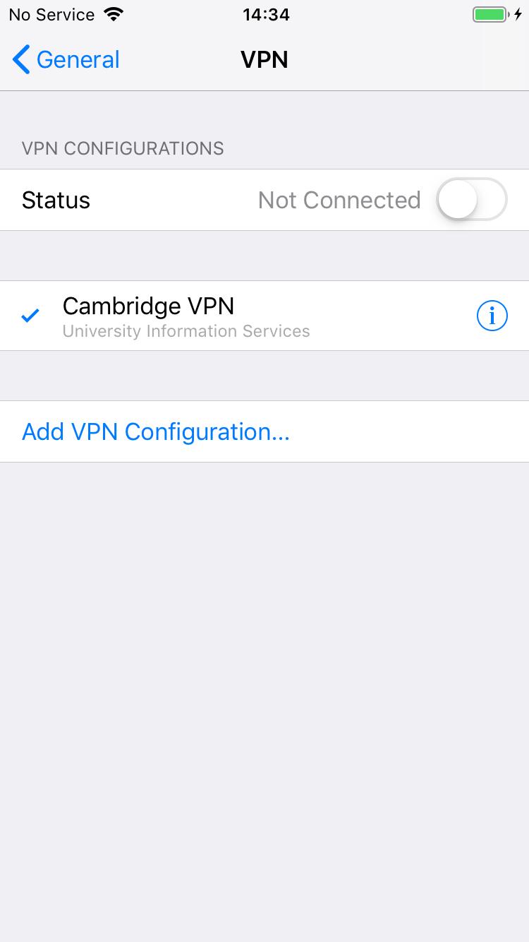 6. Settings General VPN Configure