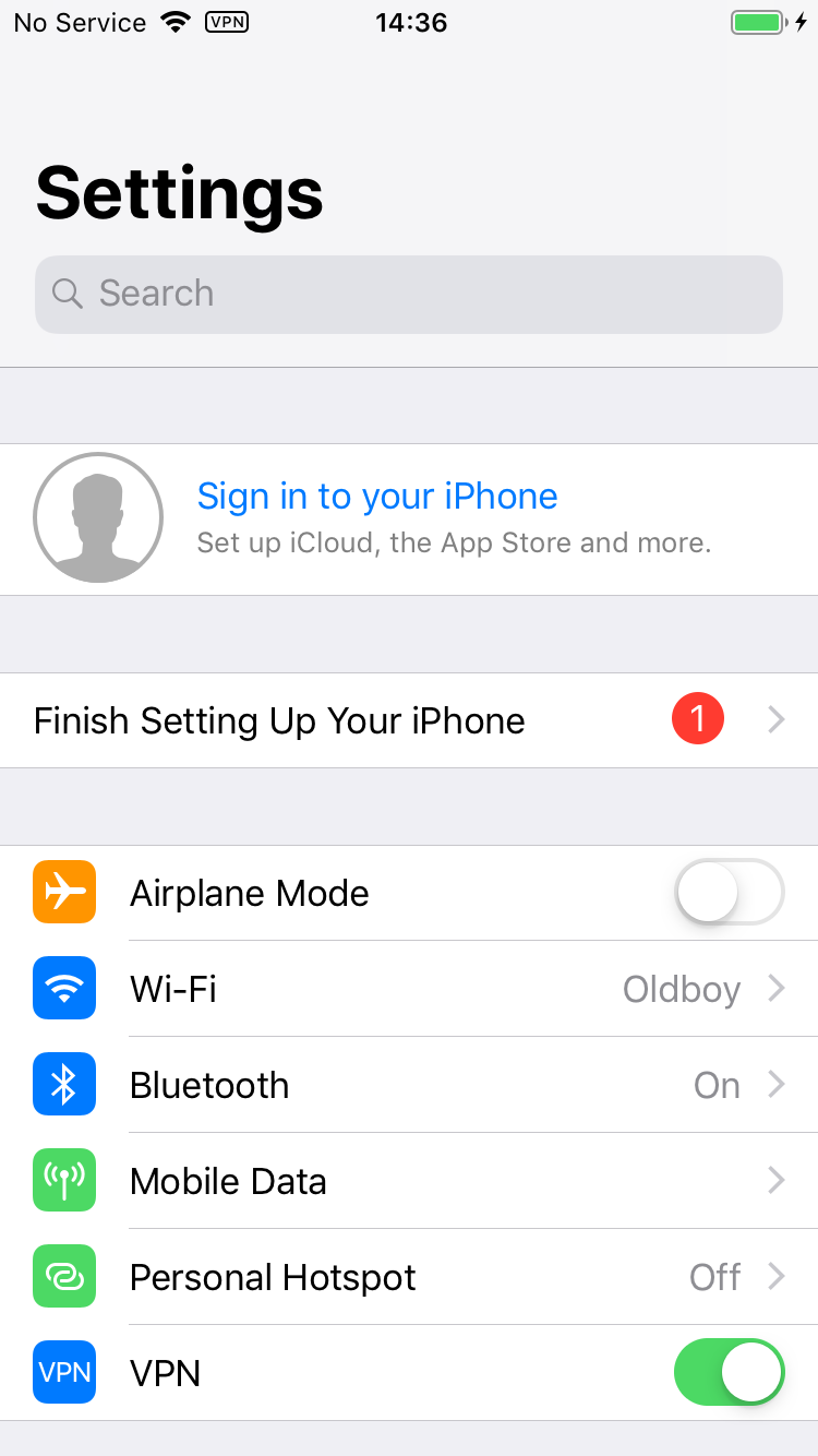 9. Switching VPN on in Settings