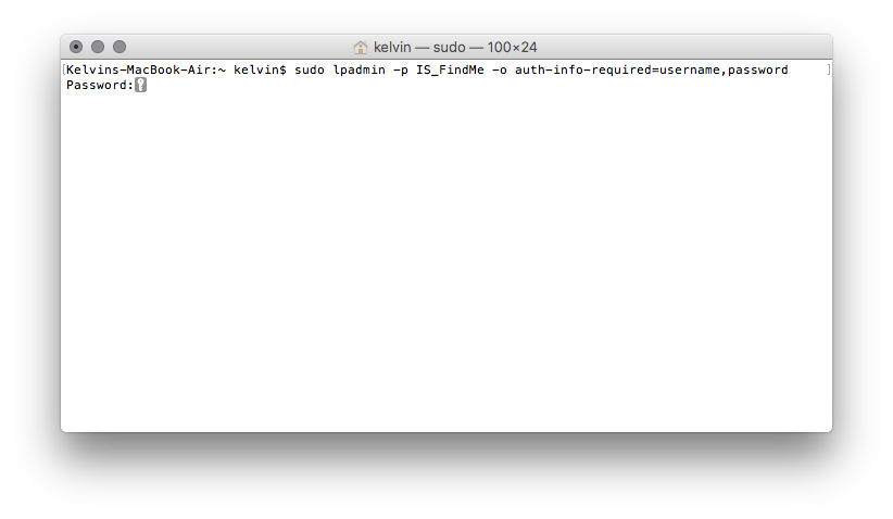 example sudo command using terminal