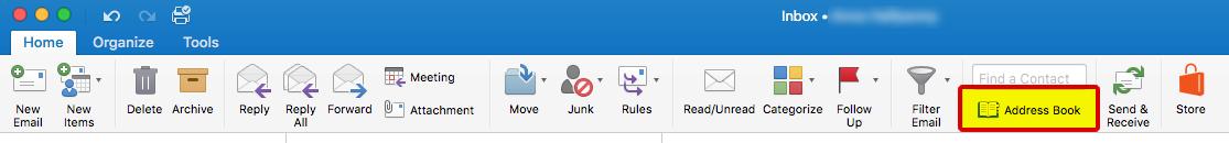 Outlook Address Book button