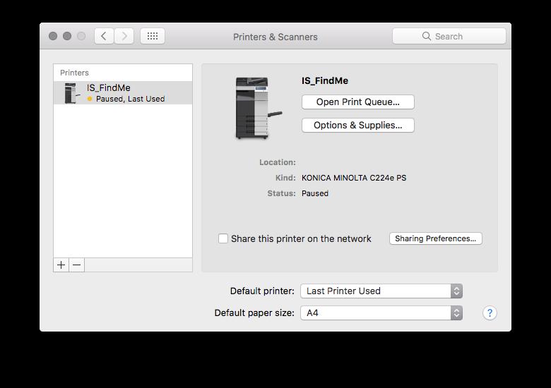Screenshot of Mac OS X Printers and Scanners