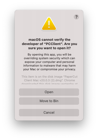 macOS cannot verify