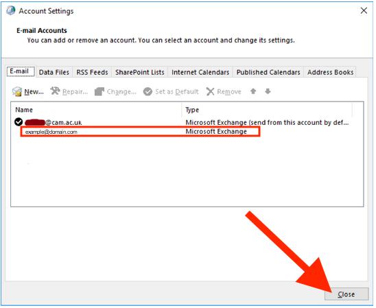 Adding mailbox Outlook 2016 screen 10