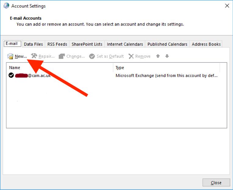 Adding mailbox Outlook 2016 screen 3