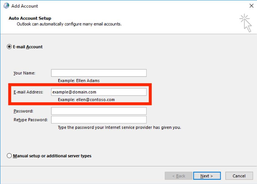 Adding mailbox Outlook 2016 screen 4