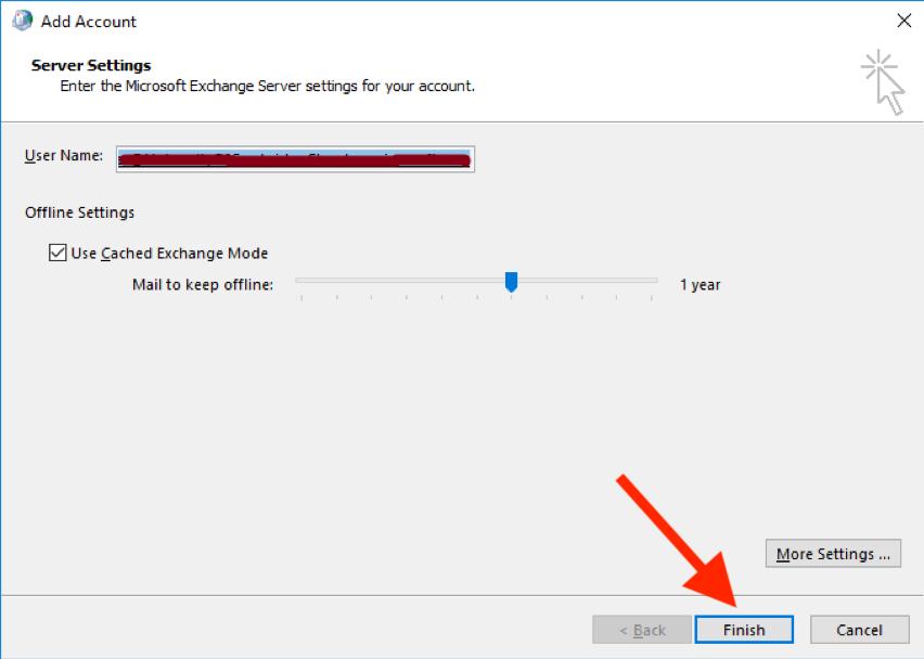 Adding mailbox Outlook 2016 screen 8