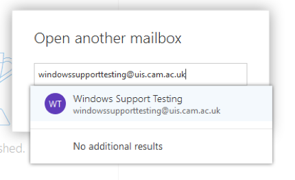 Adding mailbox OWA screen 2