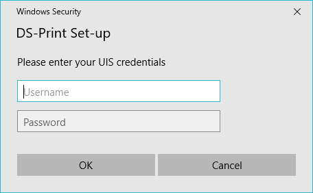 screenshot prompt for uis print credentials