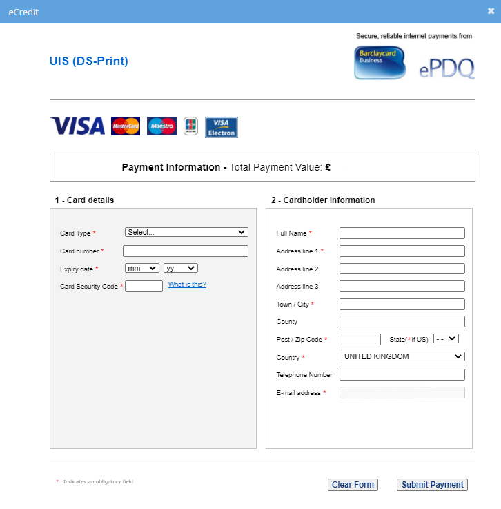 DS-Print eCredit payment interface before the upgrade
