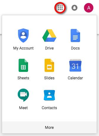 G Suite app menu
