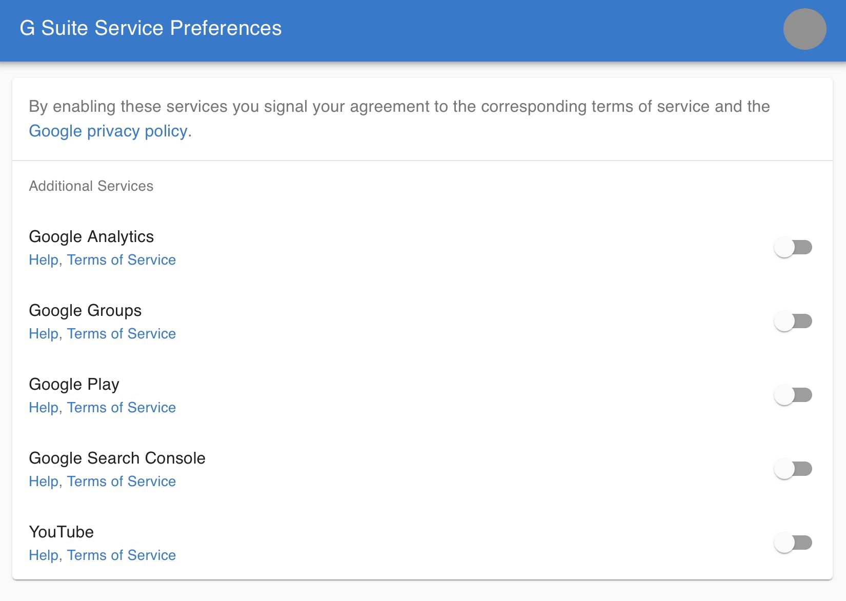 G Suite Preferences window