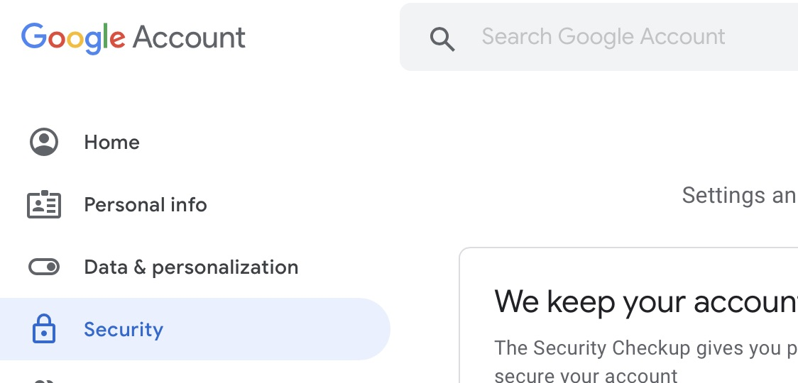 The security tab in the Google 'My Account' page