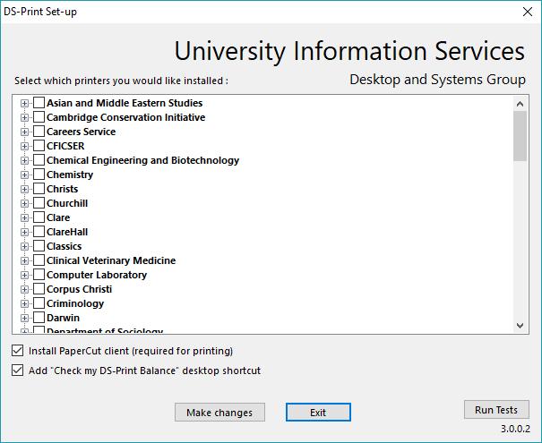 screenshot showing ds-print installation options