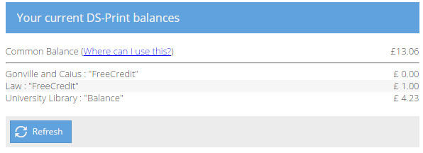 Screenshot showing My DS-Print balances