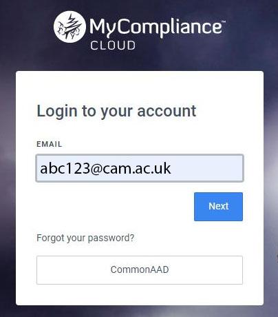 MyCompliance Cloud Login Screenshot