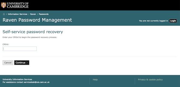 Password recovery screenshot