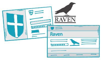 Raven and Microsoft login screens