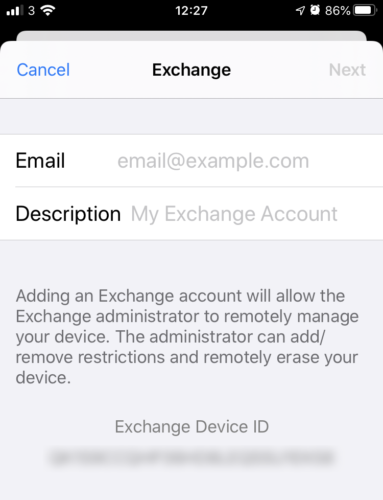 alert message about remote wipe feature