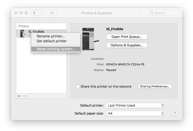 screenshot showing Mac OS X reset printing system