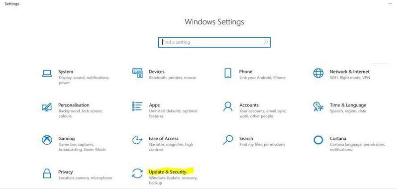 Windows Setting window with Update and Security highlighted