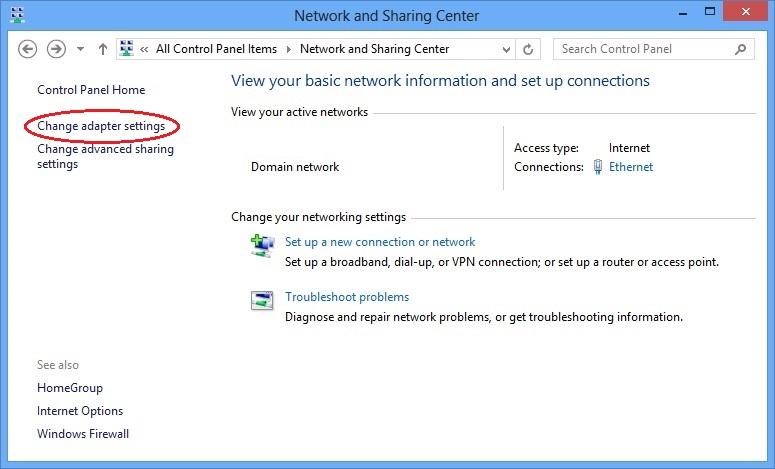 Network and Sharing Center pane