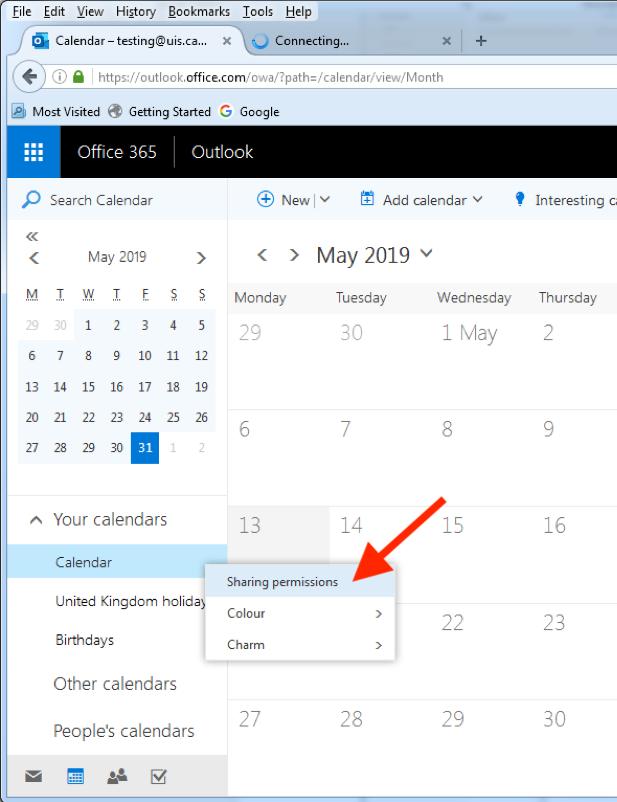 Share calendar OWA screen 2
