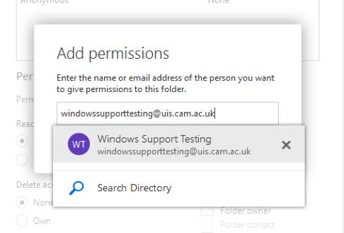 Sharing folders with OWA screenshot 3