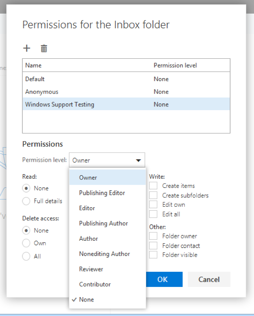 Sharing folders with OWA screenshot 5