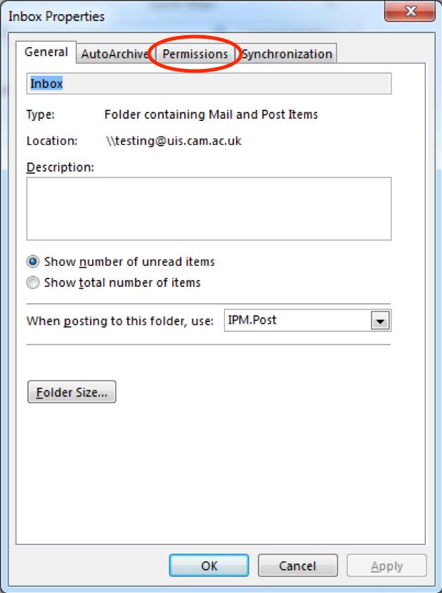 Sharing mail folders PC screenshot 2