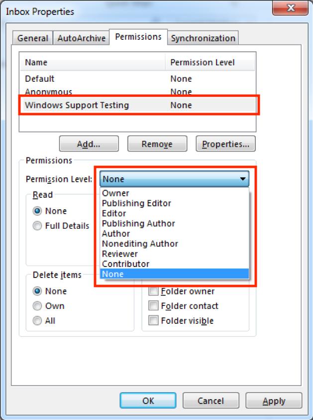Sharing mail folders PC screenshot 5