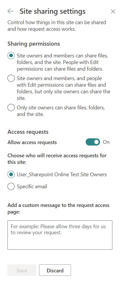 Site Sharing Settings