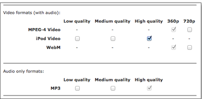 Default formats for encoding media files using the SMS