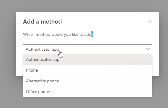 Select an authentication method from the dropdown menu