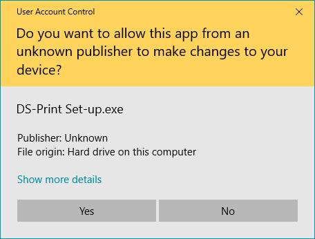 screenshot showing user account control