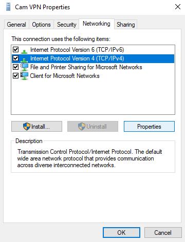 vpn network properties