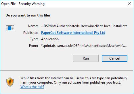 screenshot showing installation warning