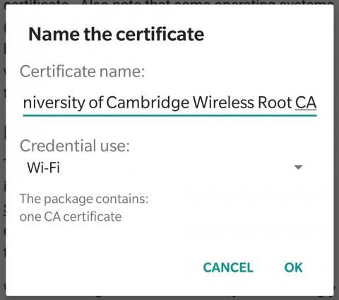 Certificate naming screen