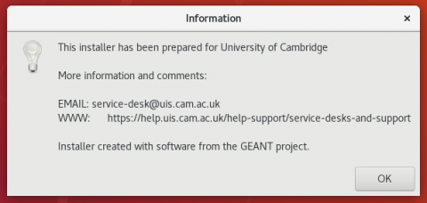 Linux eduroam cat info screenshot