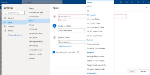 Outlook Online mail rule builder step 1