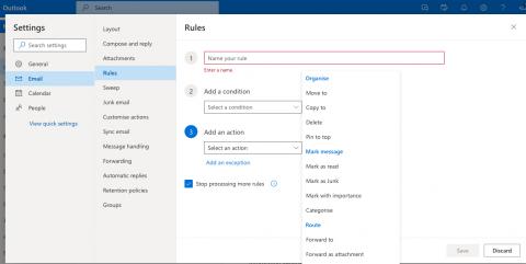 Outlook Online mail rule builder step 2