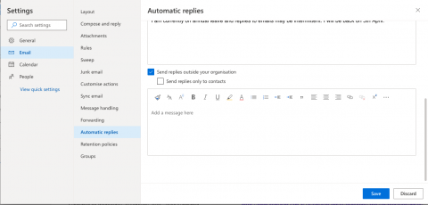 Outlook online settings for vacation messages to externals