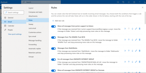 Email Rules in Outlook Online