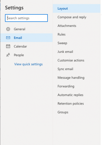 Locate the Outlook Online settings to turn on automatic replies