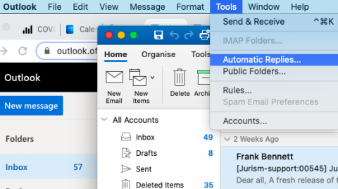 Locate the automatic replies setting in the MS Outlook desktop client