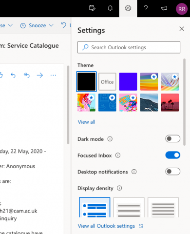 Locate the settings in Microsoft Outlook Online