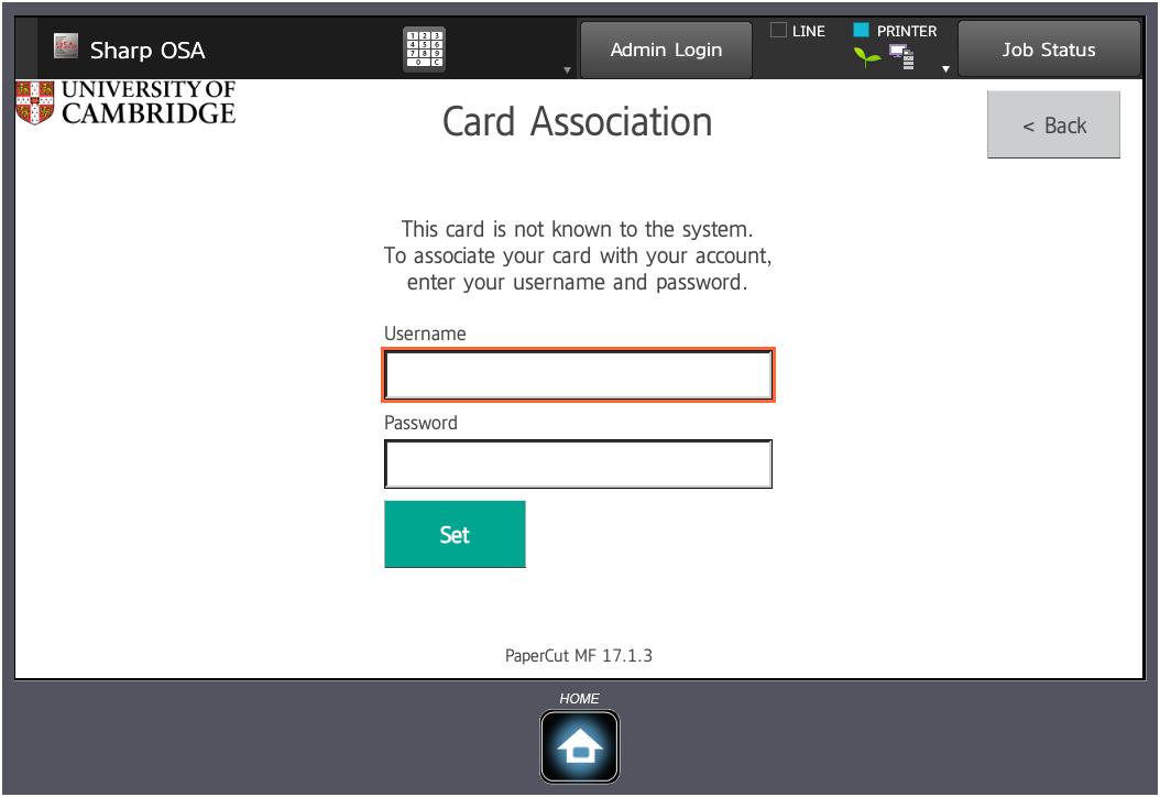 Screenshot of Card Association at Sharp MFD