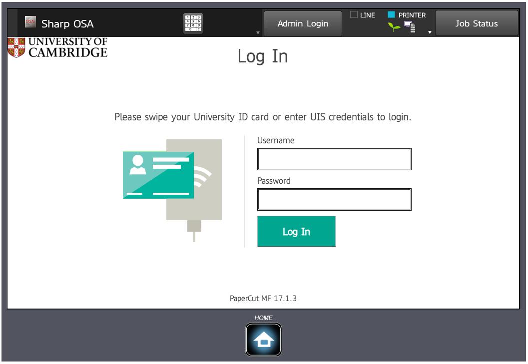 Sharp MFD log in screen